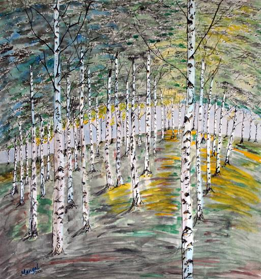 Birch Trees, Finland - painting by Mangal Gogte (www.indiaart.com)