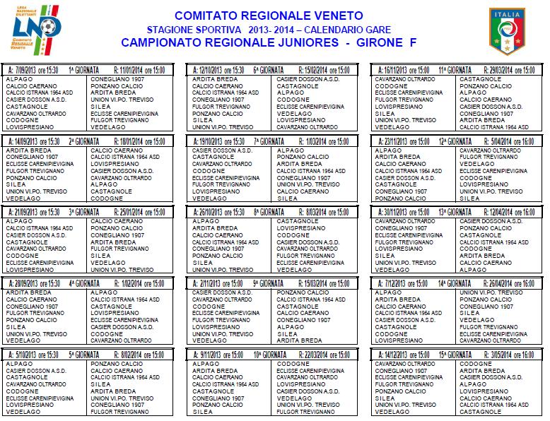 Calendario Juniores Regionali.Calciobellunese Juniores Regionali F Il Calendario Completo