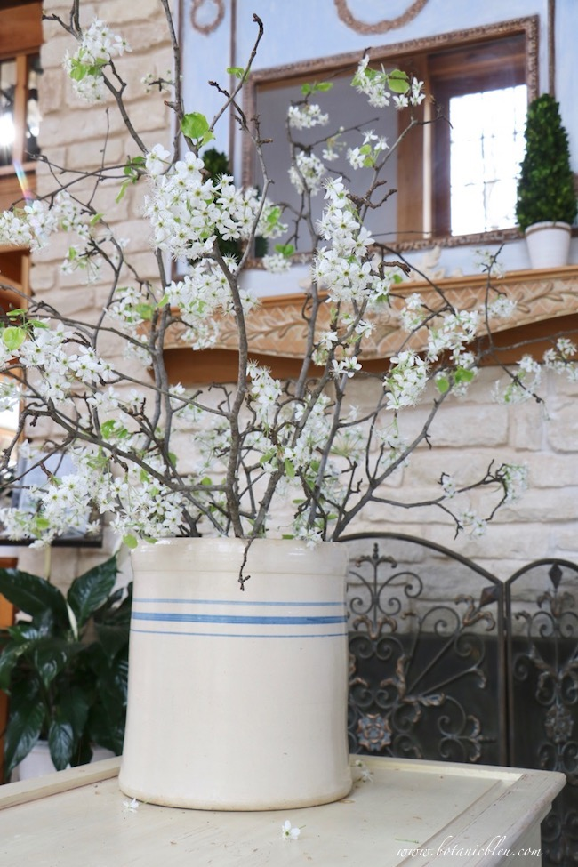 Hello Spring Pear Tree Blooms in a Vintage Country Crock