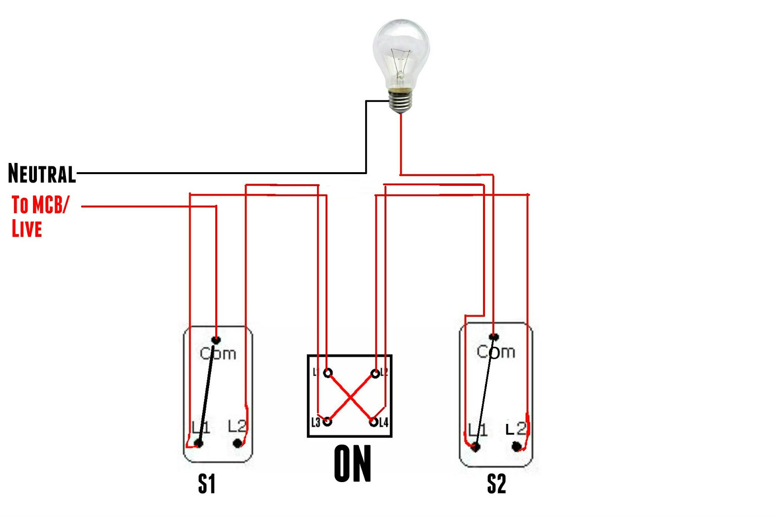 Intermediate Switch on three way switches wiring diagram
