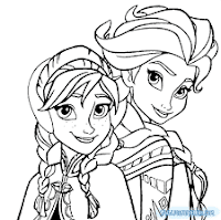 Desenhos para Colorir da Elsa e da Anna do filme Frozen.