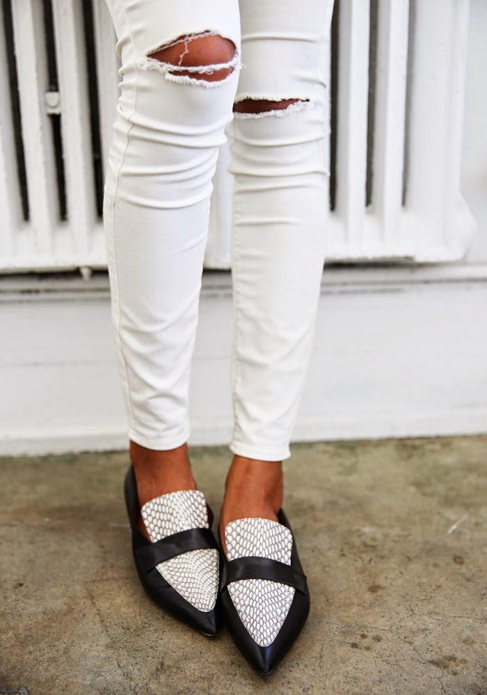 sincerely jules white jeans loafers monochrome style