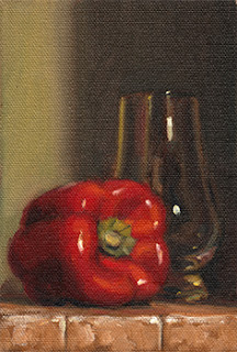 Oil painting of a red pepper beside a Glencairn whisky glass.