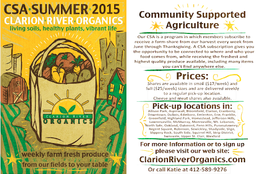 Clarion River Organics: 2015 CSA Registration Now Open !