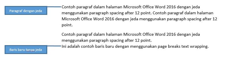 Contoh baris teks baru dalam paragraf
