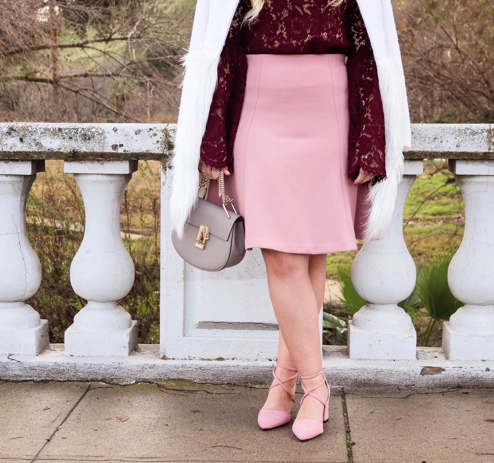 Elizabeth Hugen of Lizzie in Lace styles a Pink and Plum Valentine's Day Outfit