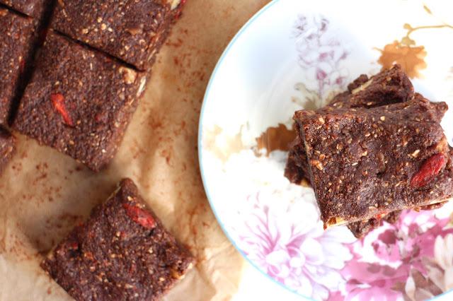 Raw Goji and Walnut Brownies
