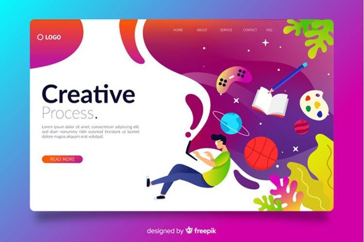 Download Wallpaper Gradient Creative Landing Page Free Vector