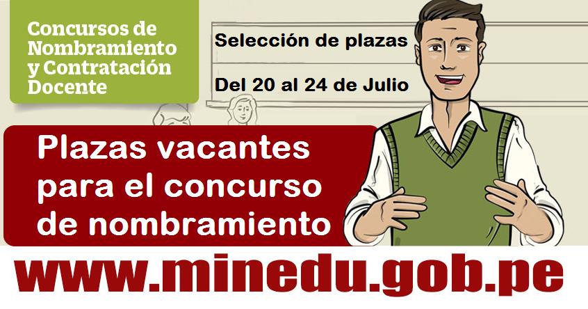 Plazas vacantes para el concurso de nombramiento docente for Concurso de plazas docentes 2016