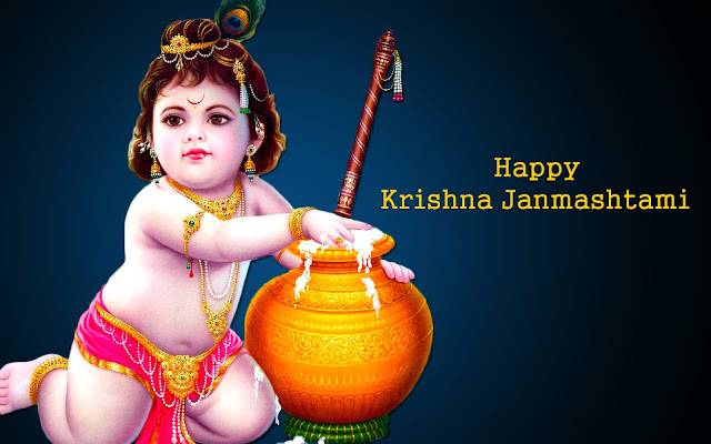 Bal Krishna eating makhan for Happy Janmashtami HD wallpaper