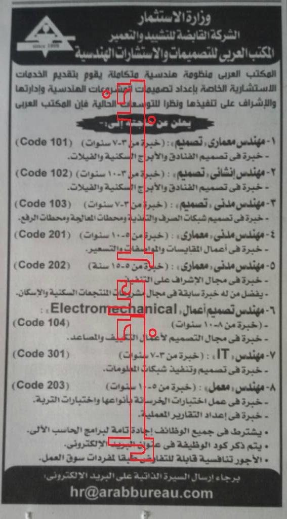 """اعلان وظائف """" وزارة الاستثمار """" منشور بجريدة الاهرام اليوم والتقديم على الانترنت"""