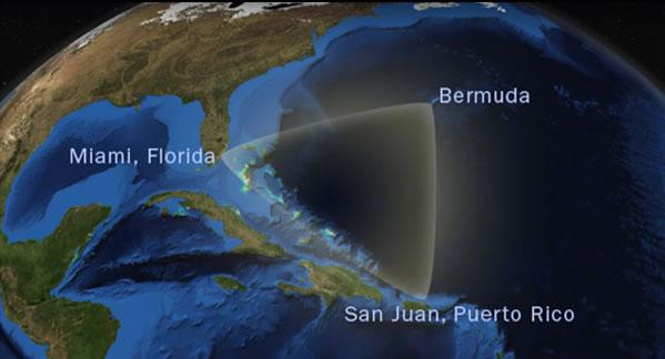 Ubicación del Triángulo de las Bermudas, definida por puntos en las Bermudas, Florida y Puerto Rico.
