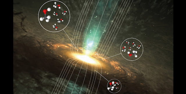 Magnetic fields play an important role in the places where most massive stars are born. This illustration shows the surroundings of a forming massive star, and the bright regions where radio signals from methanol can be found. The bright spots represent methanol masers – natural lasers that are common in the dense environments where massive stars form – and the curved lines represent the magnetic field. Thanks to new calculations by astrochemists, astronomers can now start to investigate magnetic fields in space by measuring the radio signals from methanol molecules in these bright sources.  Credit: Wolfgang Steffen​/Chalmers/Boy Lankhaar (molecules: Wikimedia Commons/Ben Mills)