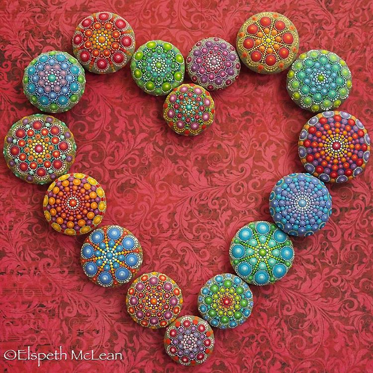 10-From-my-heart-to-Yours-Elspeth-McLean-Dotillism-Paintings-Mandala-on-Stones-Canvas-and-Clothes-www-designstack-co