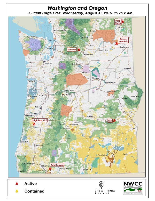 Nwcc Large Fire Map Northwest Interagency Coordination Center: 8/31/2016 NWCC Current