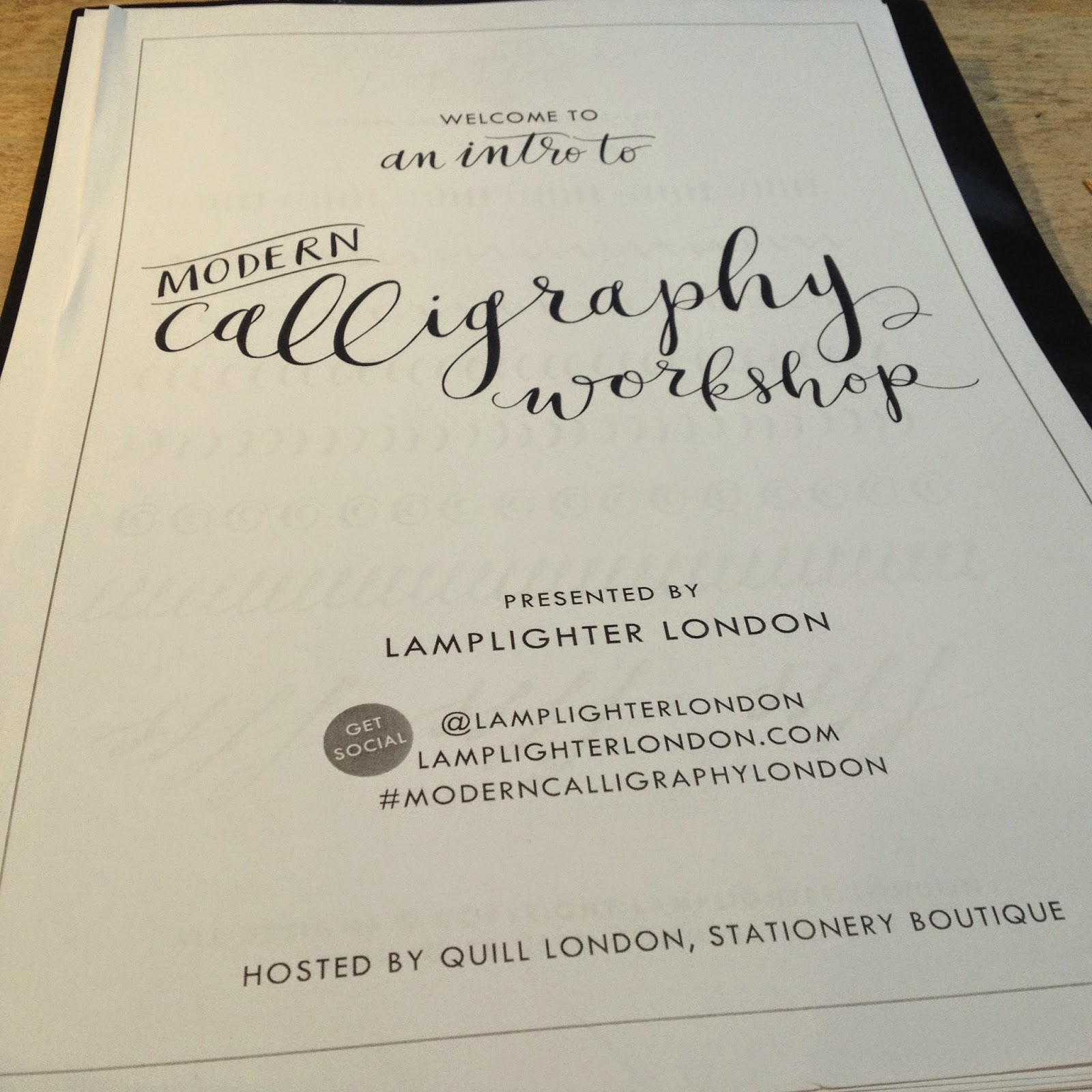 Quill London Mordern Calligraphy Workshop