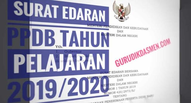 Surat Edaran PPDB Tahun Pelajaran 2019/2020