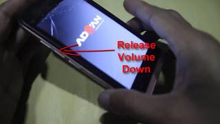 Lepaskan tombol Volume Down