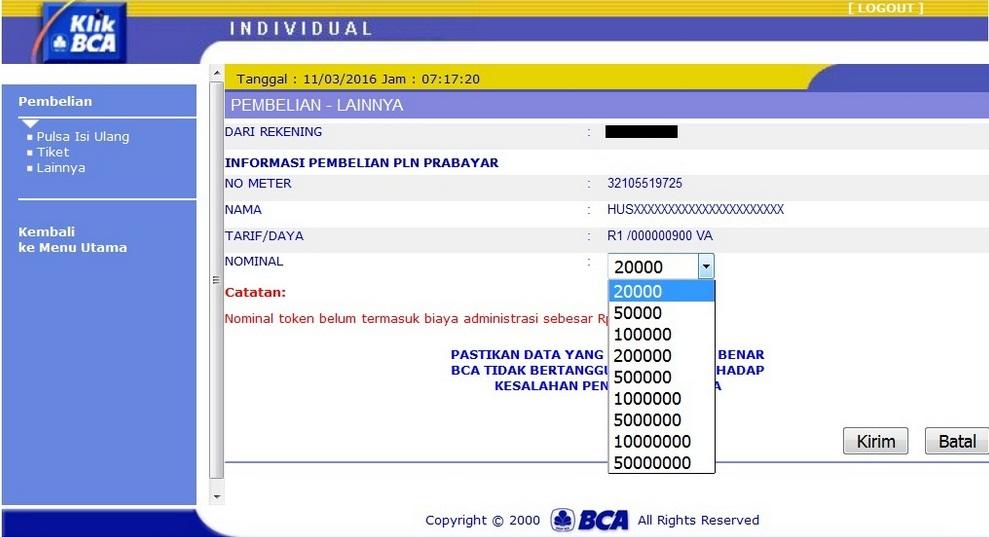 CARA MUDAH BELI PULSA LISTRIK LEWAT INTERNET BANKING BCA ...