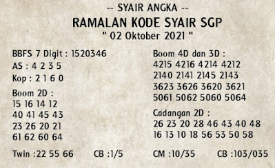 Syair sgp 02 Oktober 2021