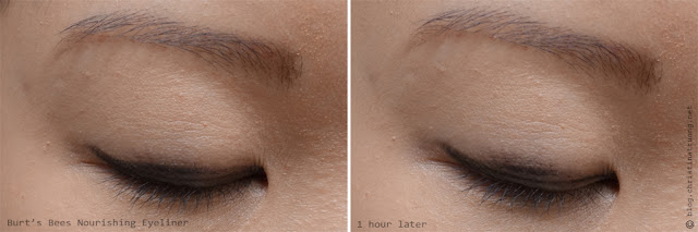 Burt's Bees Beauty Nourishing Eyeliner 1405 Soft Black Review Swatch After 1 hour Wear Results