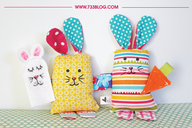 Sweet bunny plushies to make and sew