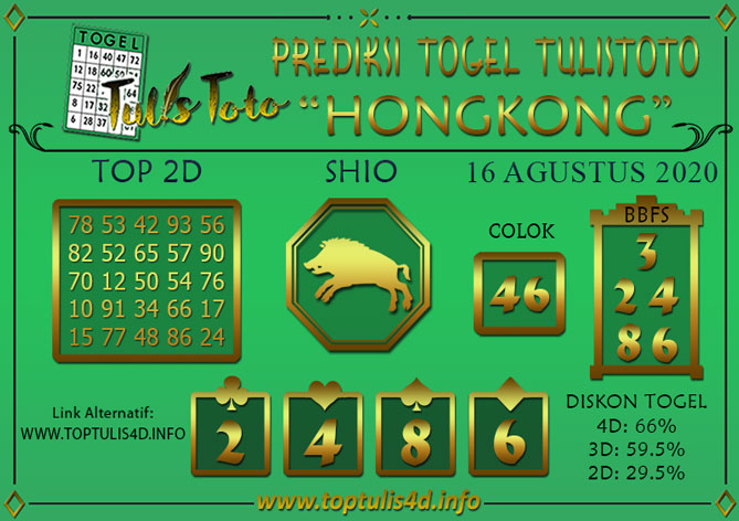 Prediksi Togel HONGKONG TULISTOTO 16 AGUSTUS 2020