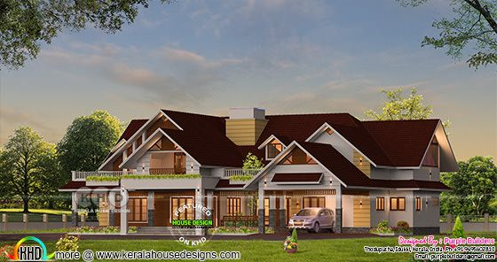 4 bedroom big single floor house sloped roof style