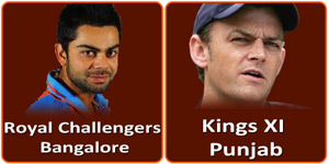 KXIP Vs RCB is on 6 May 2013