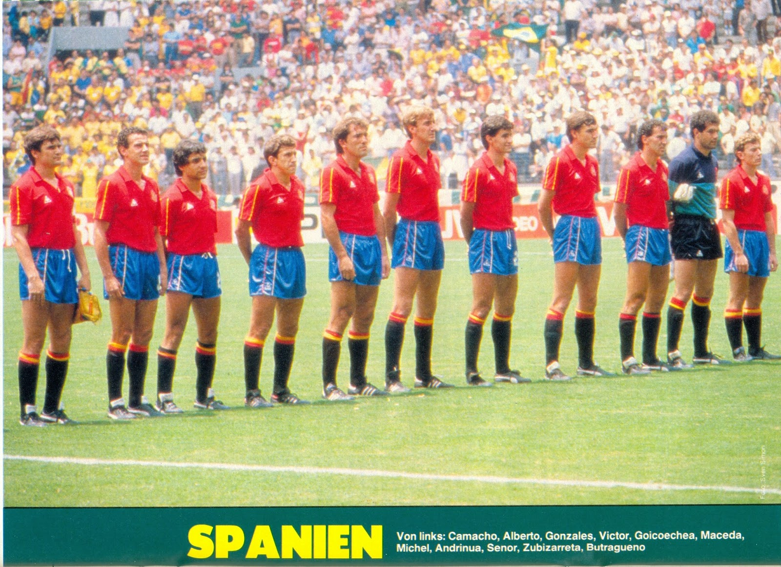 Photo From: (Magazine Source unknown) / Contribution From a blog viewer. (Spain squad, June 1, 1986, World Cup, Brazil 1-Spain 0 )
