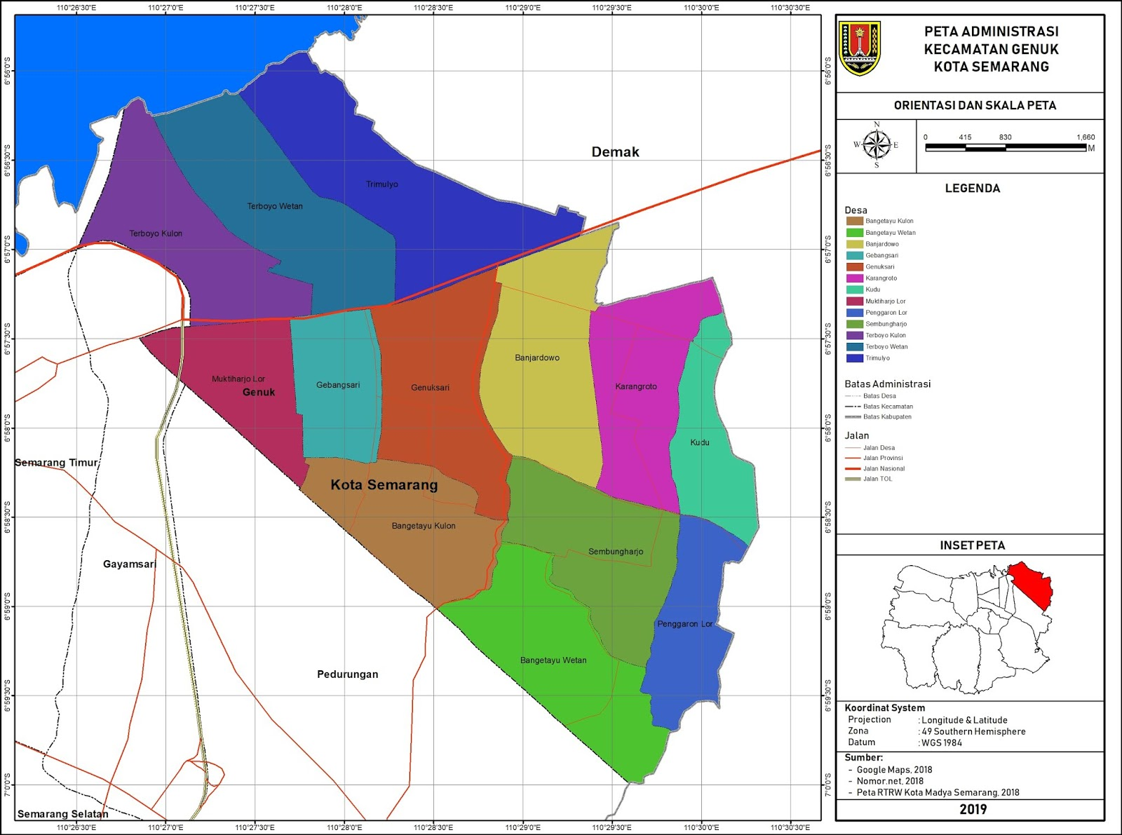 Peta Administrasi Kecamatan Genuk, Kota Semarang ~ NeededThing