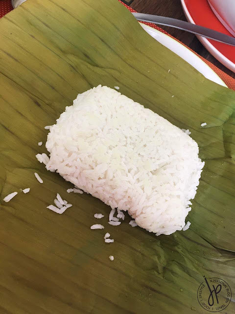 white rice in banana leaf