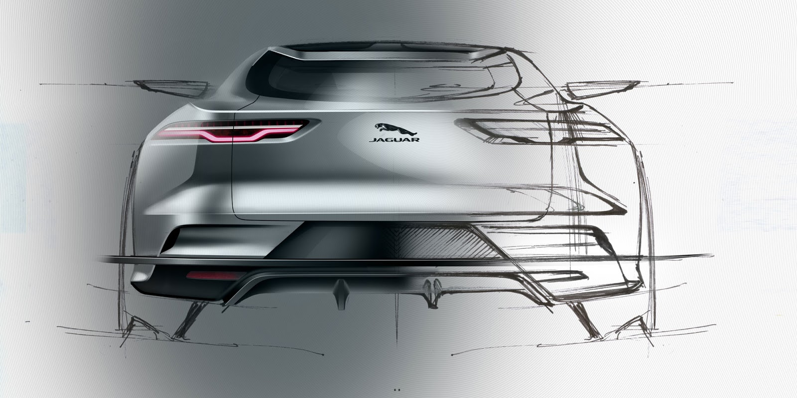 Jaguar I-Pace sketch - tail-on view