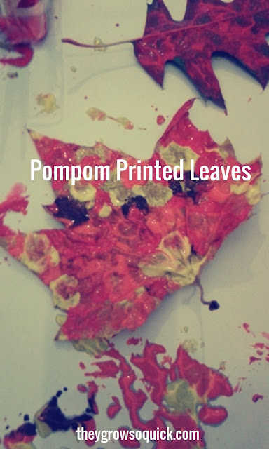 Pompom printed autumn leaves