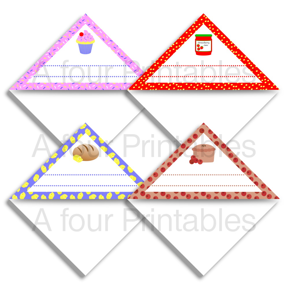 Set of four food themed page markers print sample, designed to help you find your favourite recipes in your cookery books.