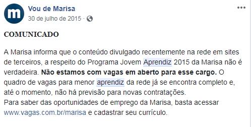 Comunicado oficial da Marisa