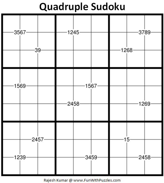Quadruple Sudoku Puzzle (Fun With Sudoku #338)