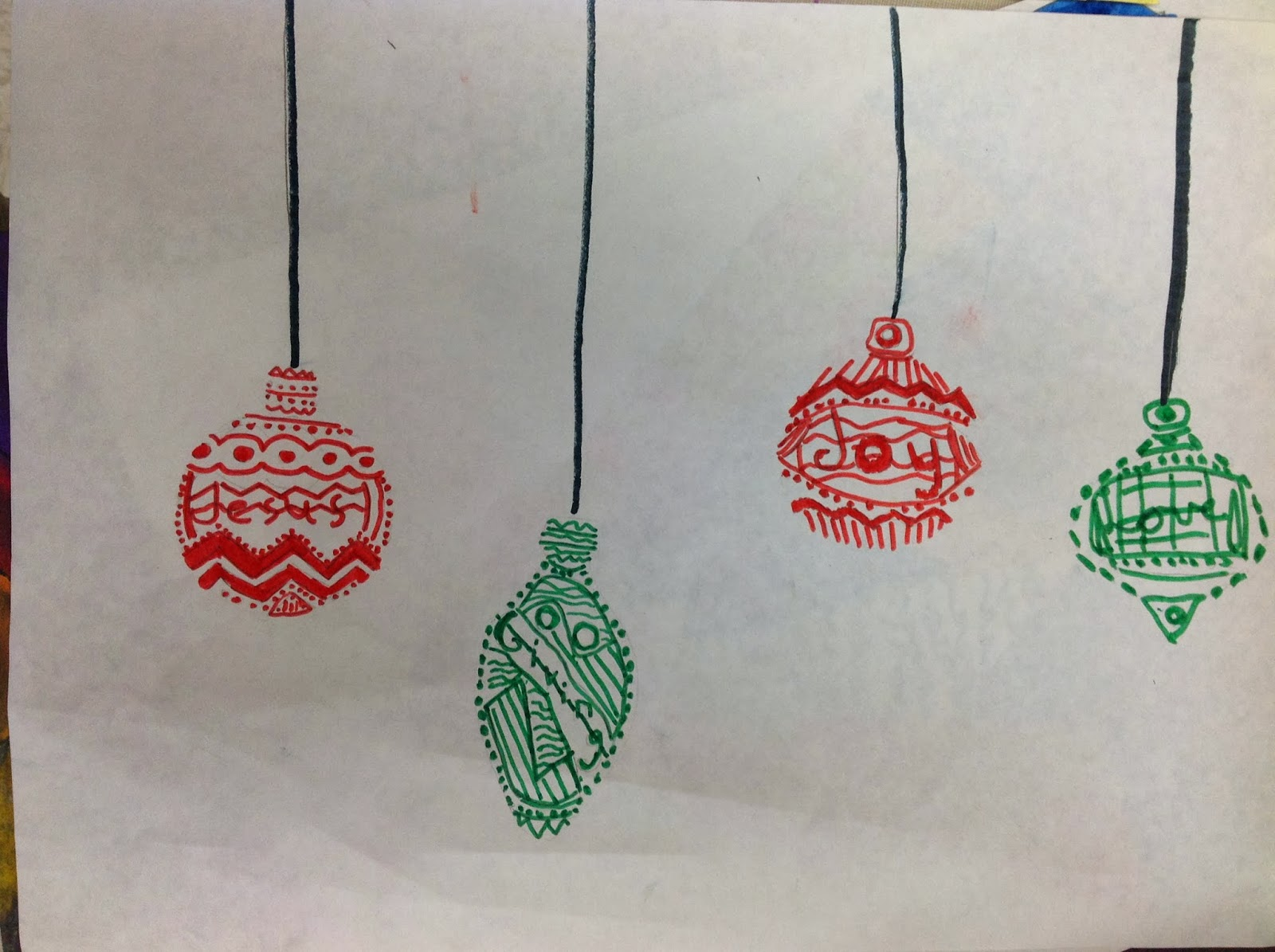 Miss Arty Pants Christmas Ornament Drawing