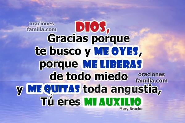 Oración cristiana en este día para tener fuerza para vivir, Dios me ayuda a tener un buen día, Él quita el miedo, imágenes con oraciones para la mañana por Mery Bracho.