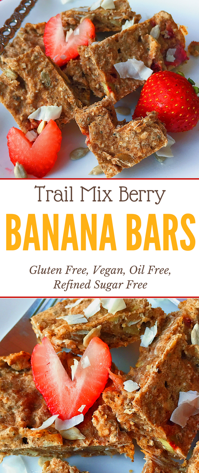 Gluten Free Trail Mix Berry Banana Bars (Vegan, Refined Sugar Free)
