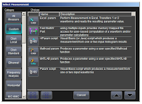 Custom measurements are easily accessible in the Select Measurement dialog box