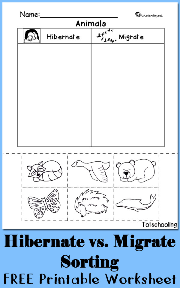 Printable Worksheets animals printable worksheets : Hibernation vs. Migration: Animal Sorting Worksheet | Totschooling ...