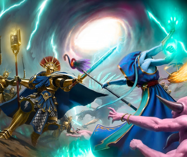 Warhammer age of sigmar artwork ilustration from battletome disciples of tzeentch duel vs stormcast