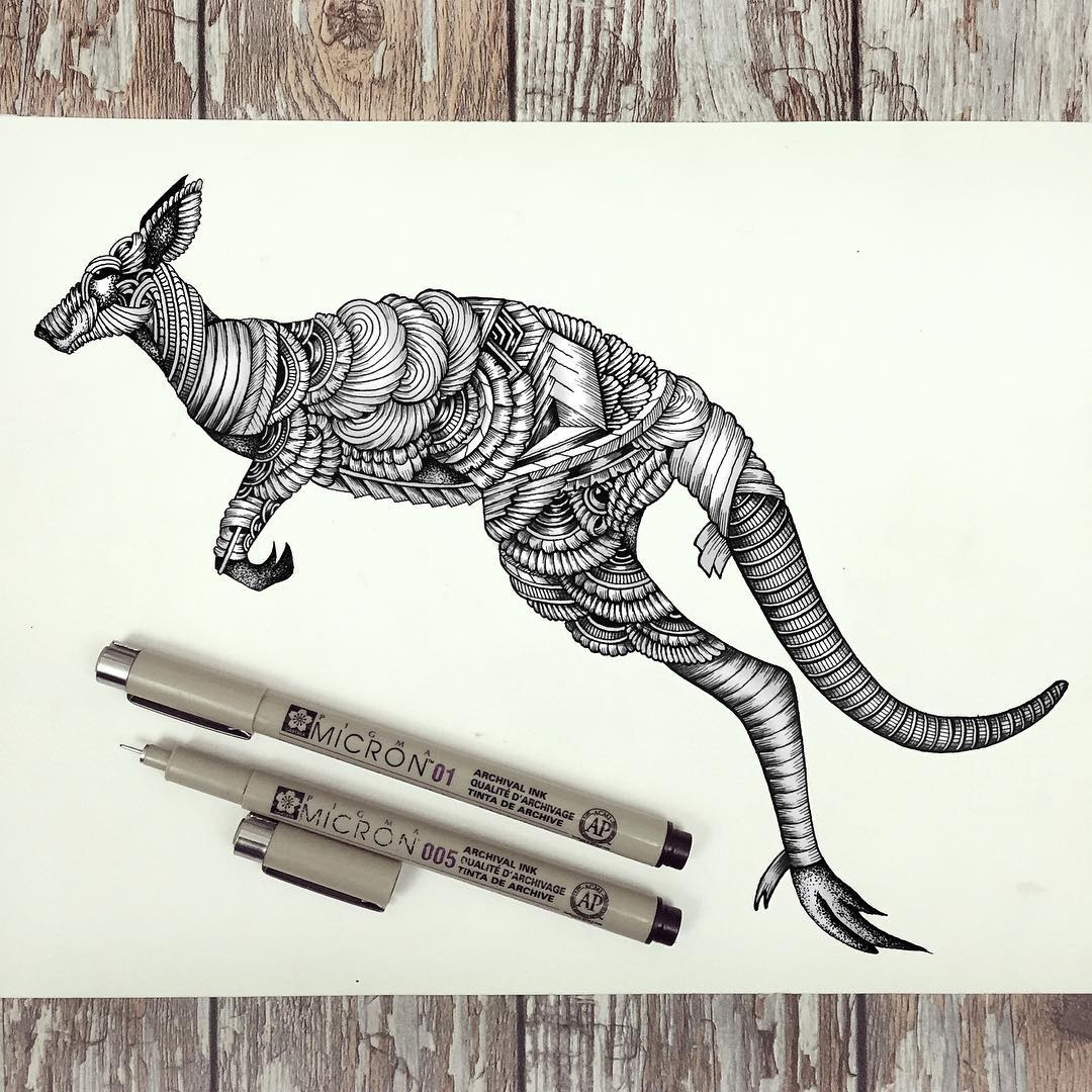09-Kangaroo-Faye-Halliday-Haathi-Detailed-Drawings-Representing-Complex-Animal-www-designstack-co