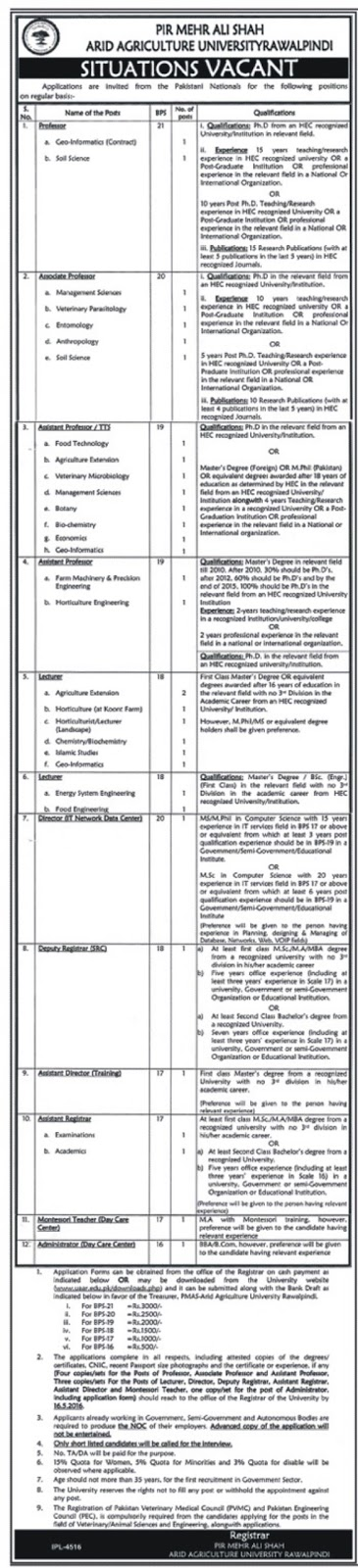 Teaching Faculty Jobs in Arid Agriculture University Rawalpindi