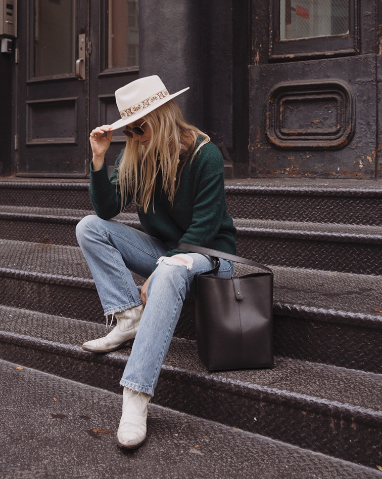 Jenni Kayne Atlas Sweater, Jenni Kayne Bucket bag, Helene Heath