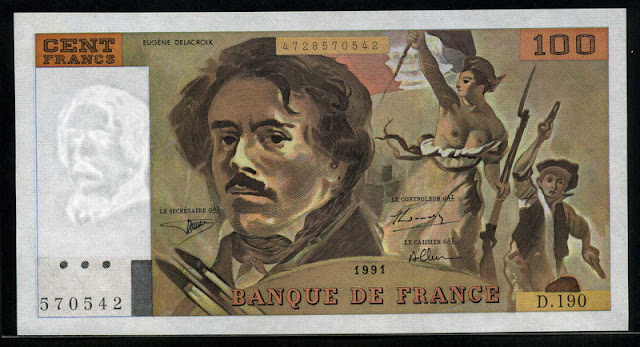 French paper money currency 100 Francs euro bank note
