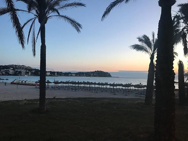 santa ponsa beach at sunset near pirates village