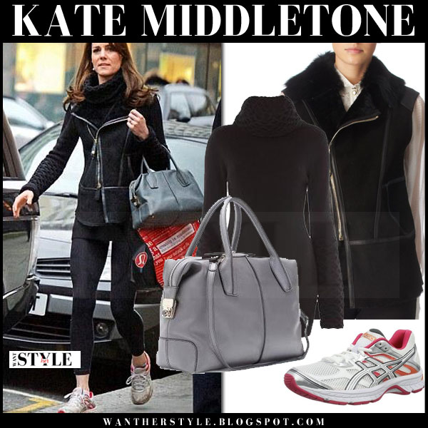 Kate Middleton in black suede temperley gilet and black leggings and asics sneakers what she wore casual style