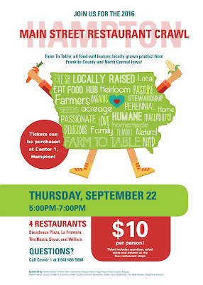 Main Street Hampton, Iowa Restaurant Crawl, Thursday, Sepetember 22nd